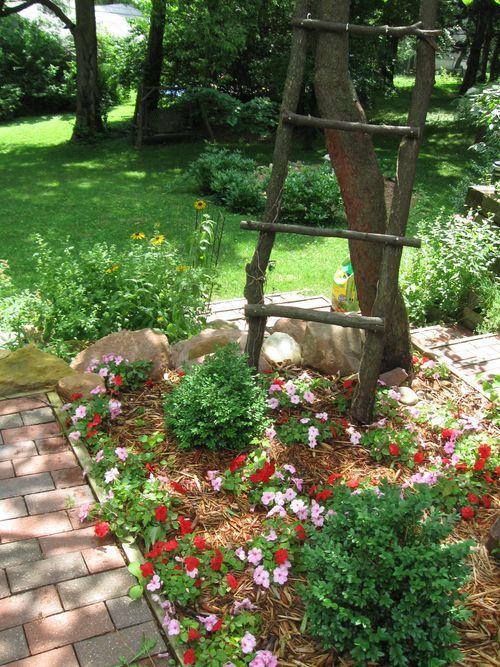 Cute Flower Bed With Rustic Ladder Garden Tiles Flower
