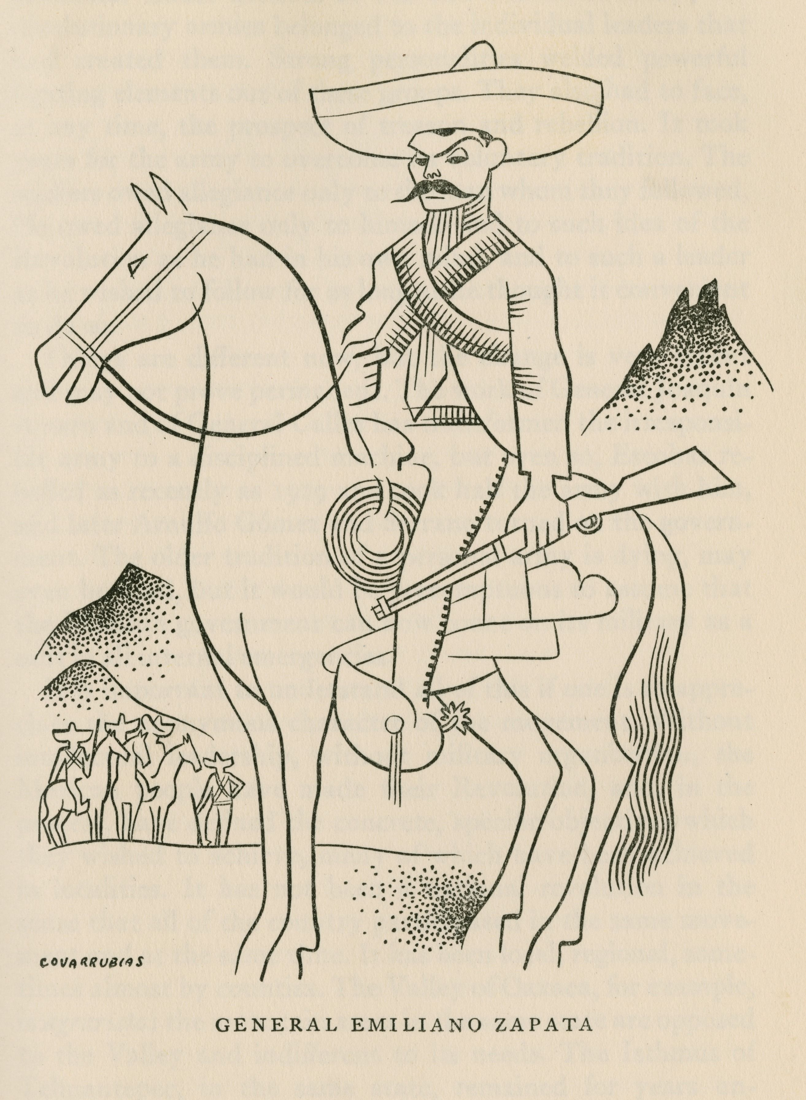 General Emiliano Zapata By Miguel Covarrubias Mexican Revolution Animated Drawings Illustrations Posters