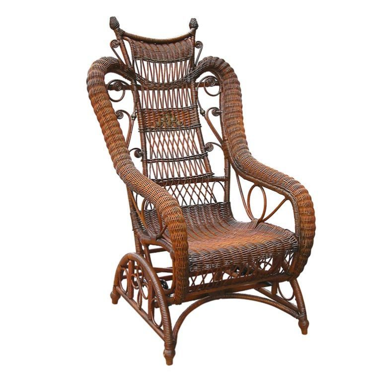 Victorian wicker platform rocking chair in natural stained finish with  original green painted detailing. An 1890s patented platform having a  stationary ... - Victorian Wicker Platform Rocker Victorian, Rockers And Rocking Chairs