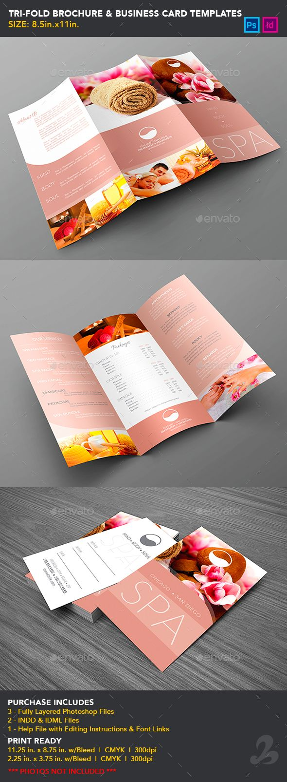 Tri-Fold Brochure & Business Card Templates - Spa | Tri fold ...