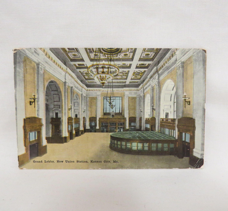 Antique Postcard Grand Lobby New Union Station Kansas City