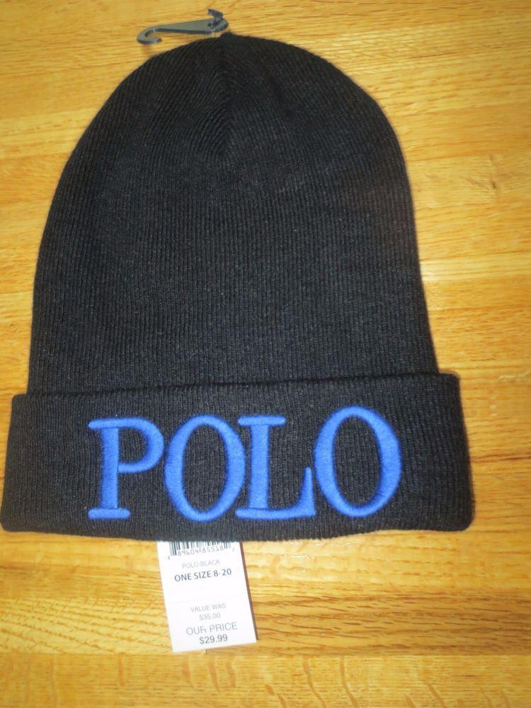 POLO RALPH LAUREN BEANIE HAT BOYS YOUTH 8 - 20 YEAR WINTER SKI BLACK NEW   PoloRalphLauren  Beanie f7f52fc71ce
