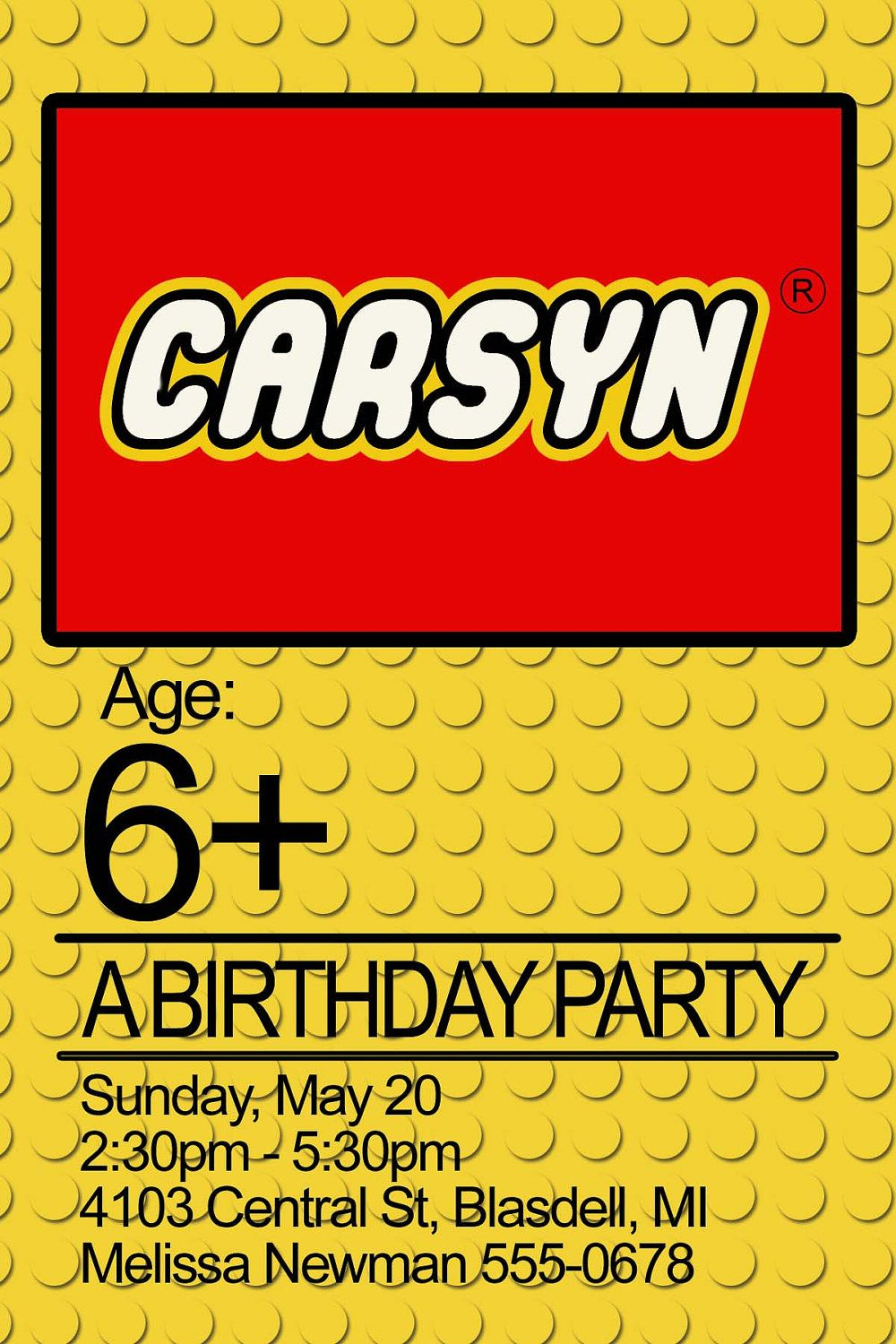 lego birthday party invitation - PRINTABLE: order this invitation ...