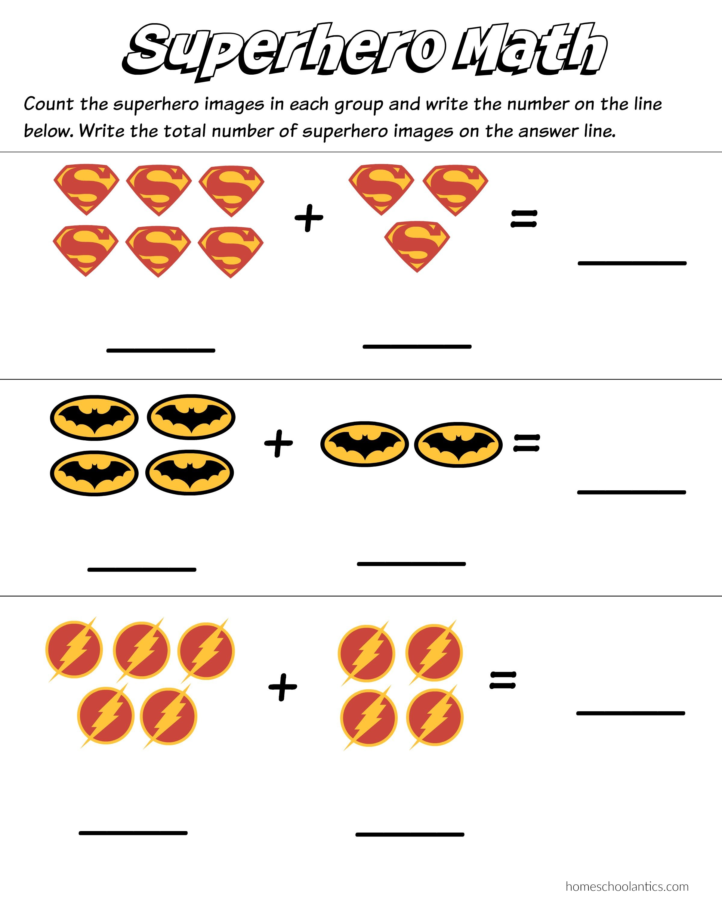 Let S Make Math Fun For Those Superhero Lovers Out There Here Kindergarten Math Worksheets Addition Kindergarten Addition Worksheets Math Addition Worksheets