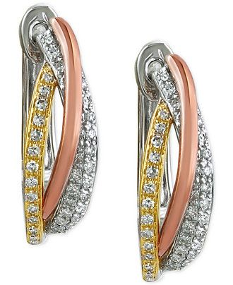 Trio by EFFY� Diamond Twisted Hoop Earrings (3/8 ct. t.w.) in 14k White, Yellow and Rose Gold - Earrings - Jewelry & Watches - Macy's #earrings