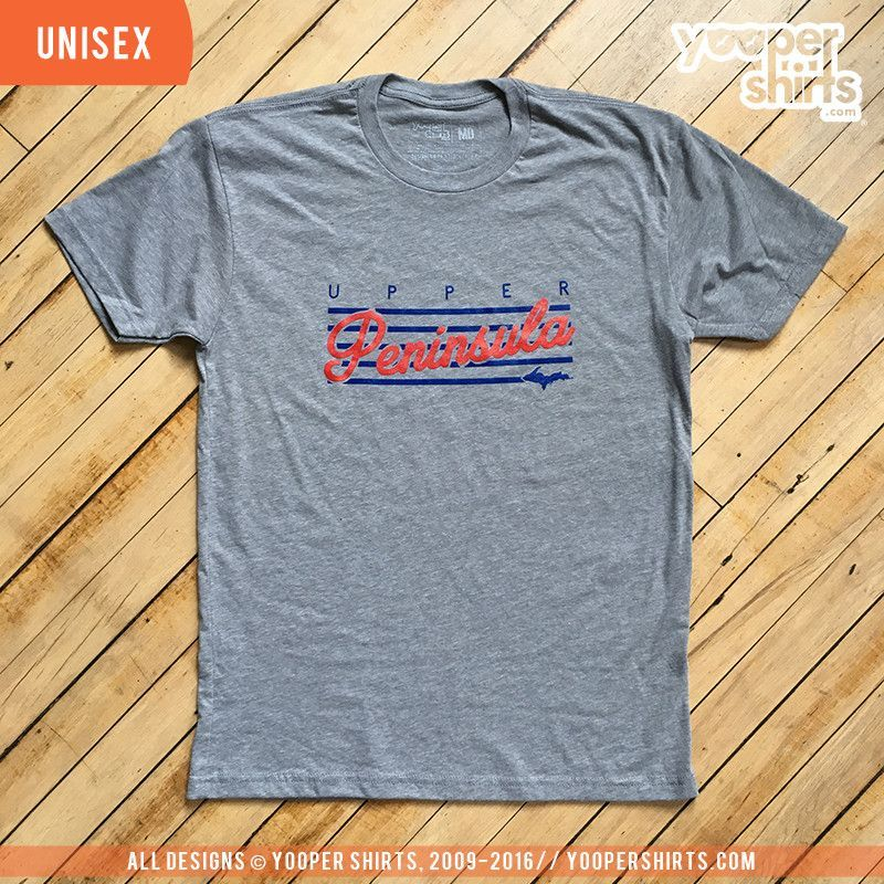 """Upper Peninsula (Stripes)"" Heather Grey T-Shirt"