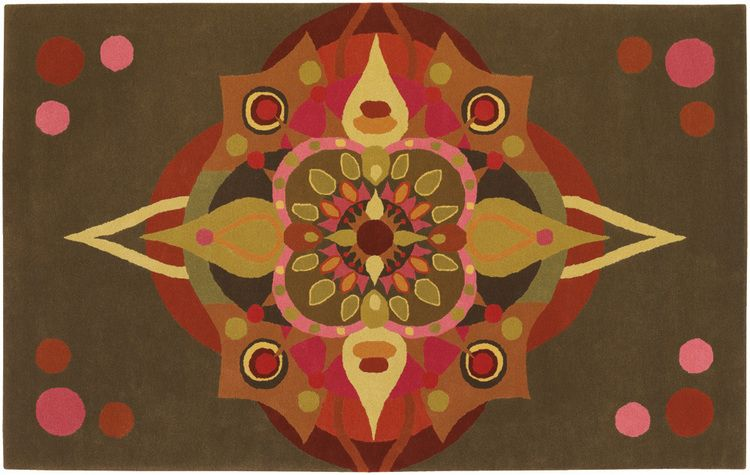 Fiesta Star Medallion Rug . Art Deco motif in early autumn colors. very unique. Hand tufted New Zealand Wool DesignNashville shipping to all locations