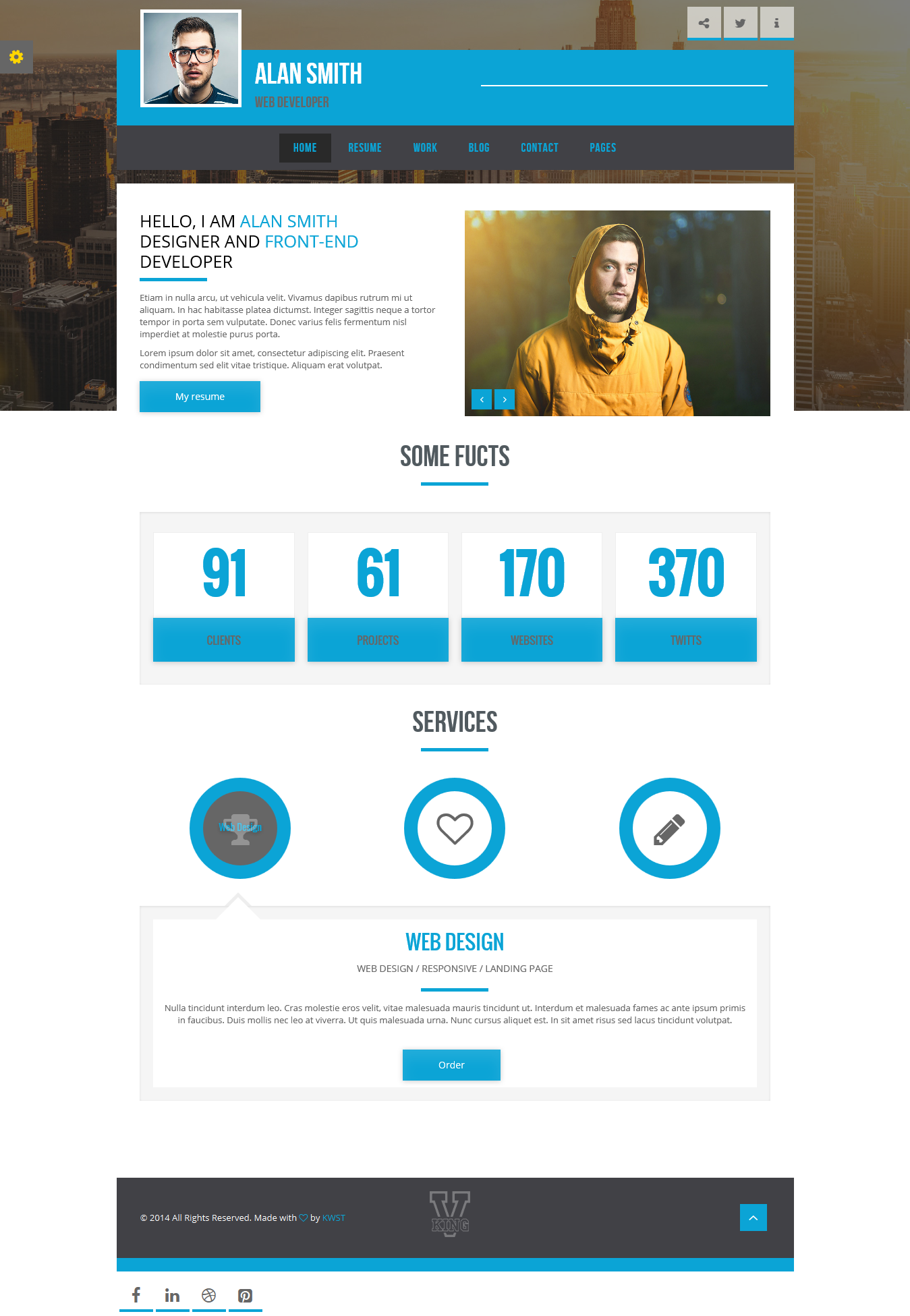 Resume Website Template Vking Personal Portfolio & Resume Page Template #vcard #resume