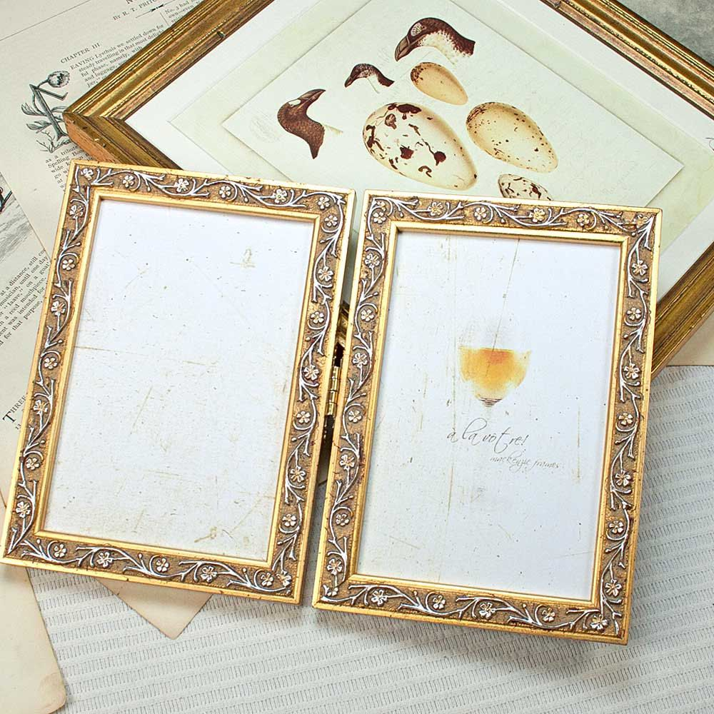 5x7 Inch Narrow Gold Hinged Double Frame Vine Leaf Motif For Anniversary Or Wedding Celebration Office Desktop Double Ph Double Photo Frame Frame Double Frame