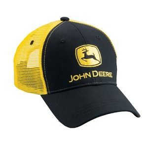 NEW John Deere Gray Front Neon Yellow  Mesh Back Side Logo LP67234