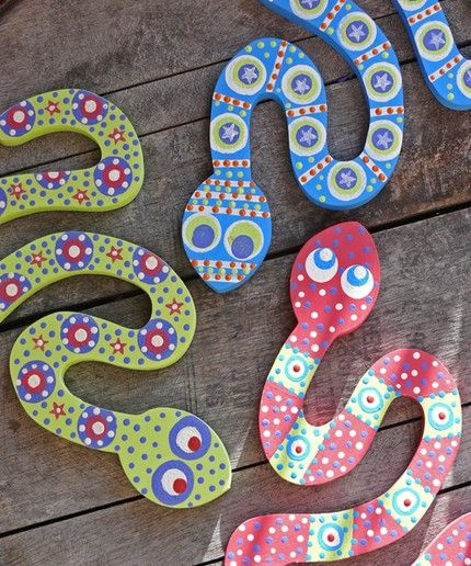 Painted Wooden Snakes (could make out of cardboard?)   Preschool