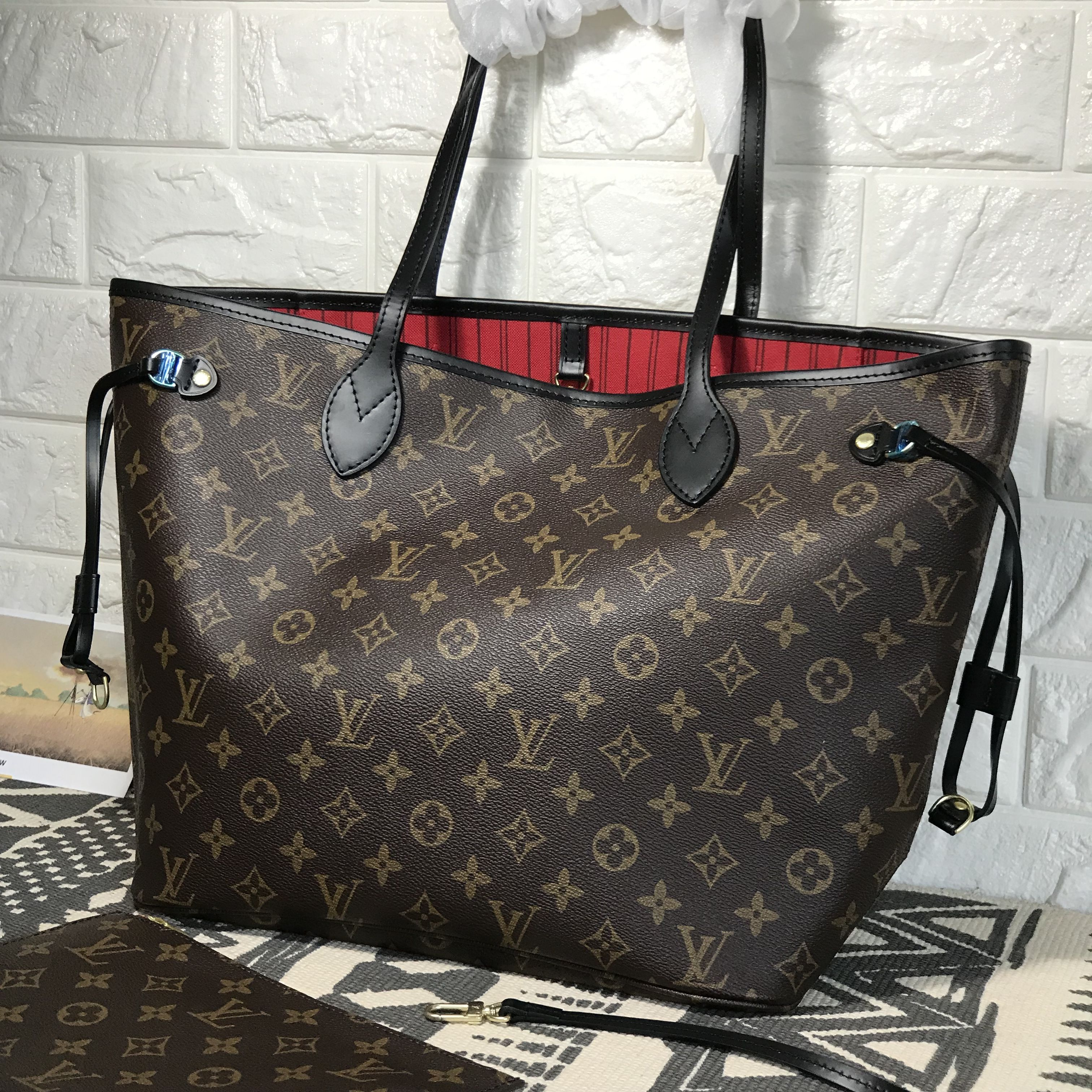1f5bf950116a Louis Vuitton lv neverfull MM woman shopping bag monogram with black handles