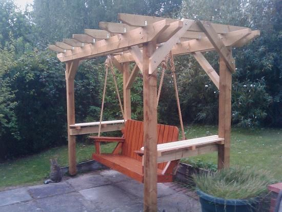 Free standing pergola swing pergola swing plans for Lawn swing plans free