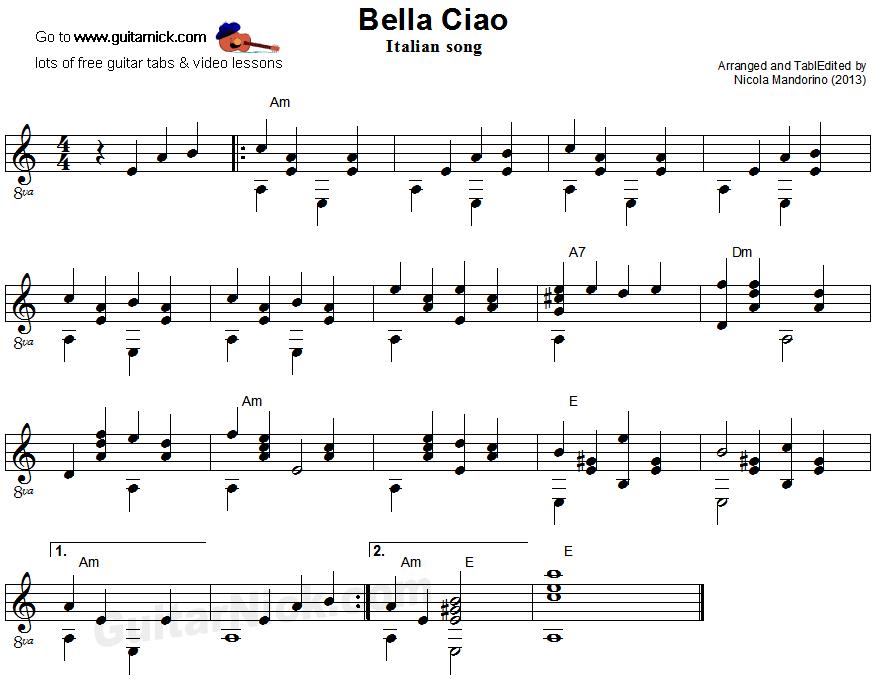 Bella Ciao Fingerstyle Guitar Sheet Music Fingerstyle Guitar Guitar Guitar Sheet Music