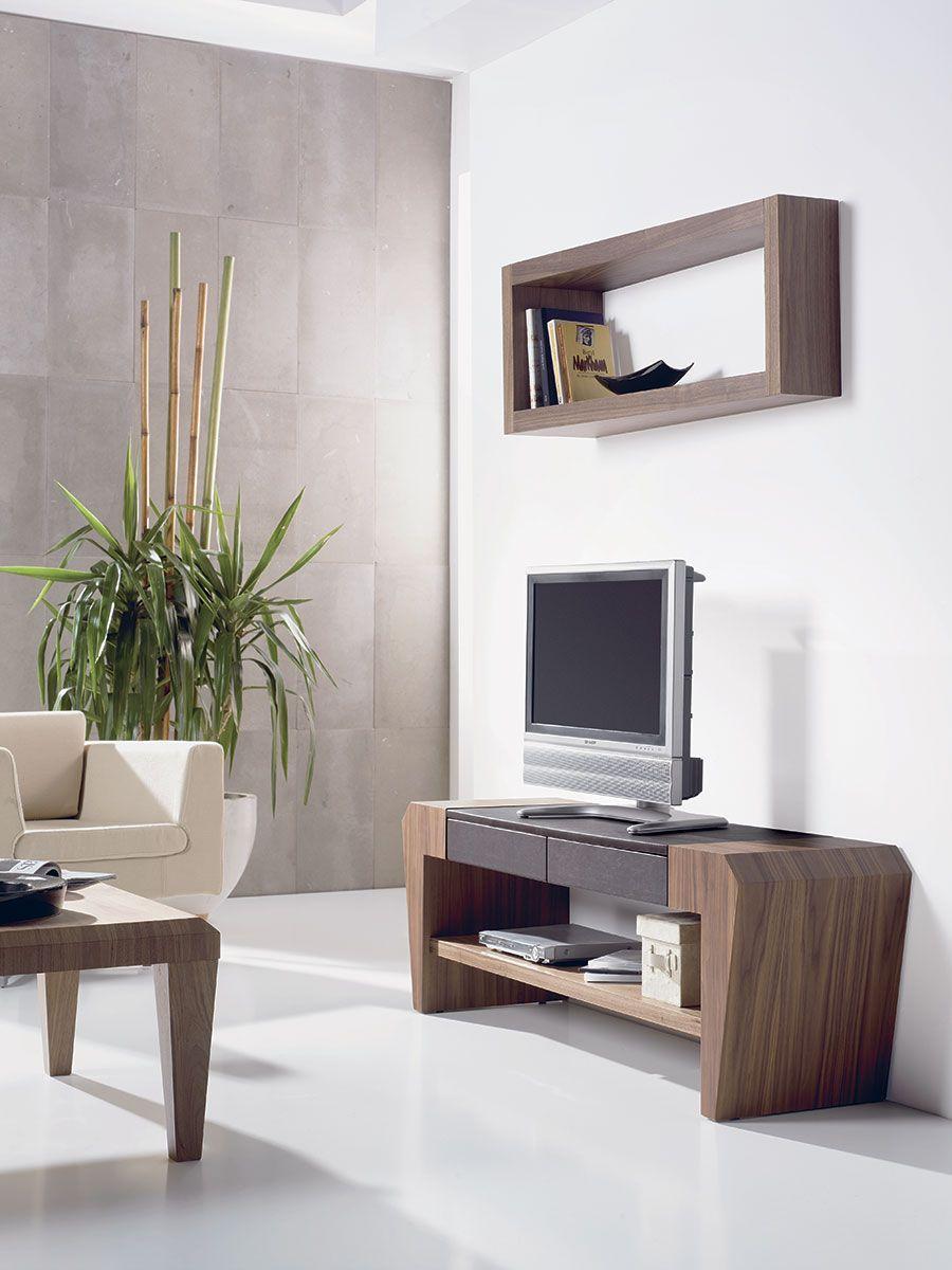 Meuble Tv Couleur Chene Moyen Et Pu Noir Contemporain Makenna Mobilier De Salon Mobilier Design Meuble Tv