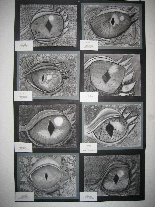 5th Grade Charcoal Dragon Eyes My 5th Graders Look