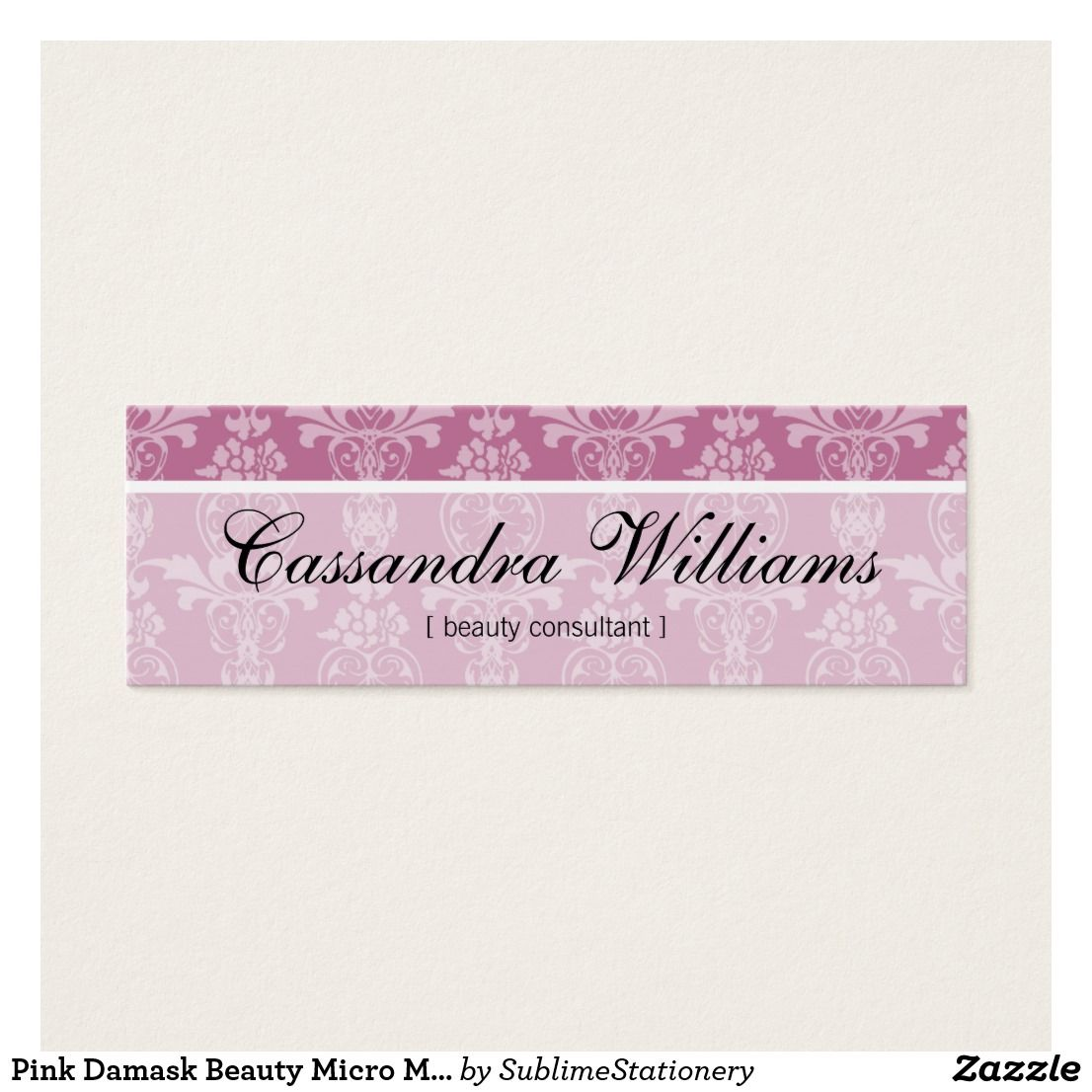 Pink damask beauty micro mini business cards custom business cards pink damask beauty micro mini business cards reheart Gallery
