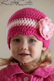 eae2f8e14 Fuchsia color beanie hat with flower for girl