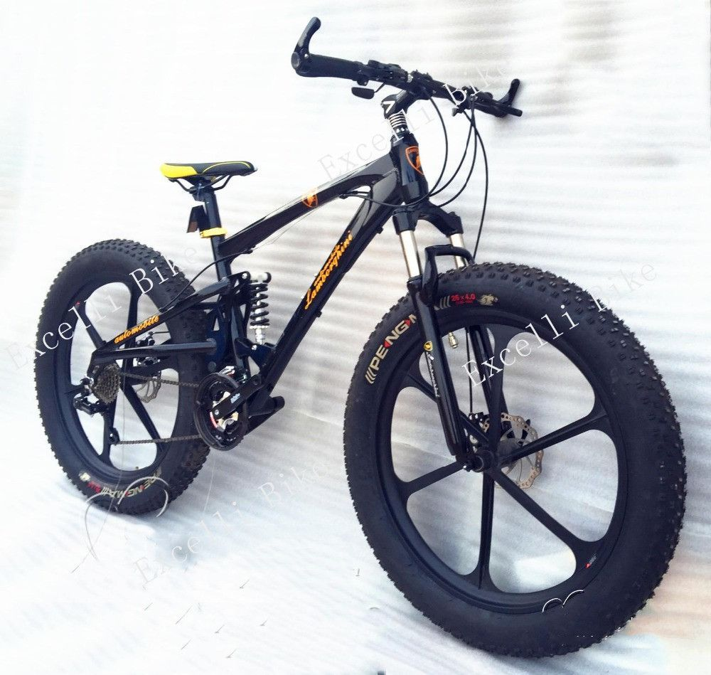 "Excelli Bike 2016 New 21/24/27 Speeds 26x4.0"" Bicicletas Cycing Snow Bike Soft-tail Frame Fat Bicycle Bicicleta Mountain Bike 26"