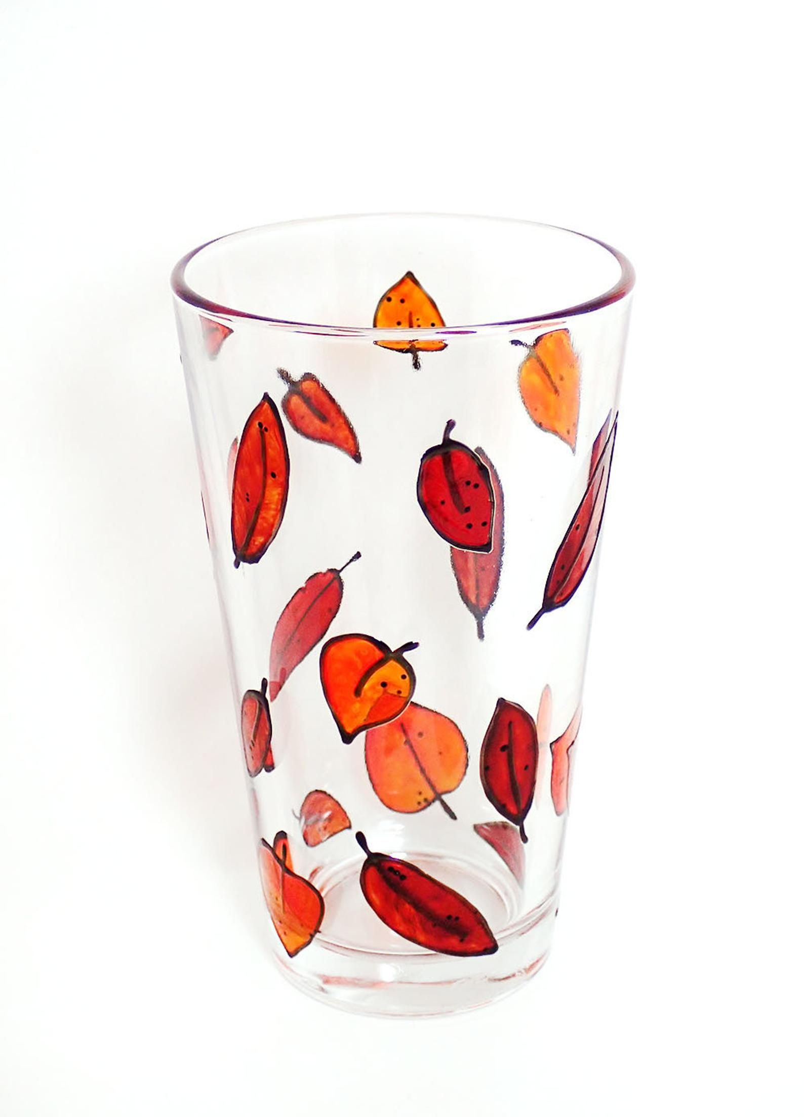 Hand Painted 16 Oz Beer Glass Autumn Leaves Fall Colored Etsy Beer Glass Glass Hand Painted