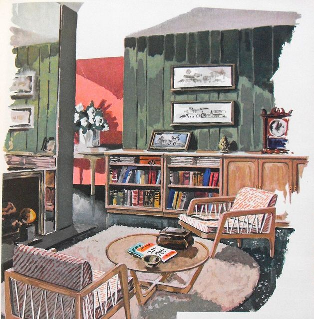 1948 Interior Decorating Book Illustration Living Room With