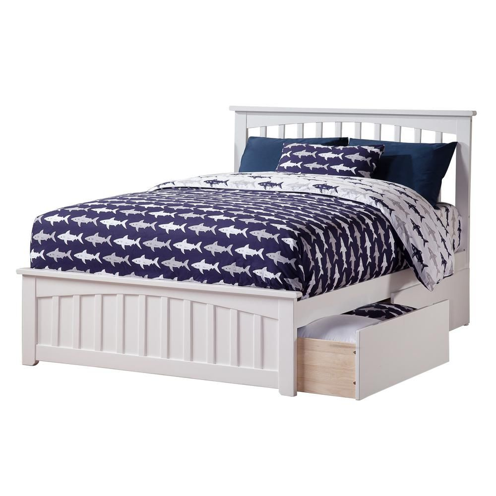 Atlantic Furniture Mission White Full Platform Bed With Matching Foot Board With 2 Urban Bed Drawers Ar8736112 Bed With Drawers Full Platform Bed Atlantic Furniture
