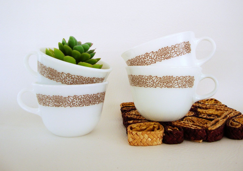 Pyrex Woodland Mug Set of 4 - Milk Glass Teacup Floral Design in ...