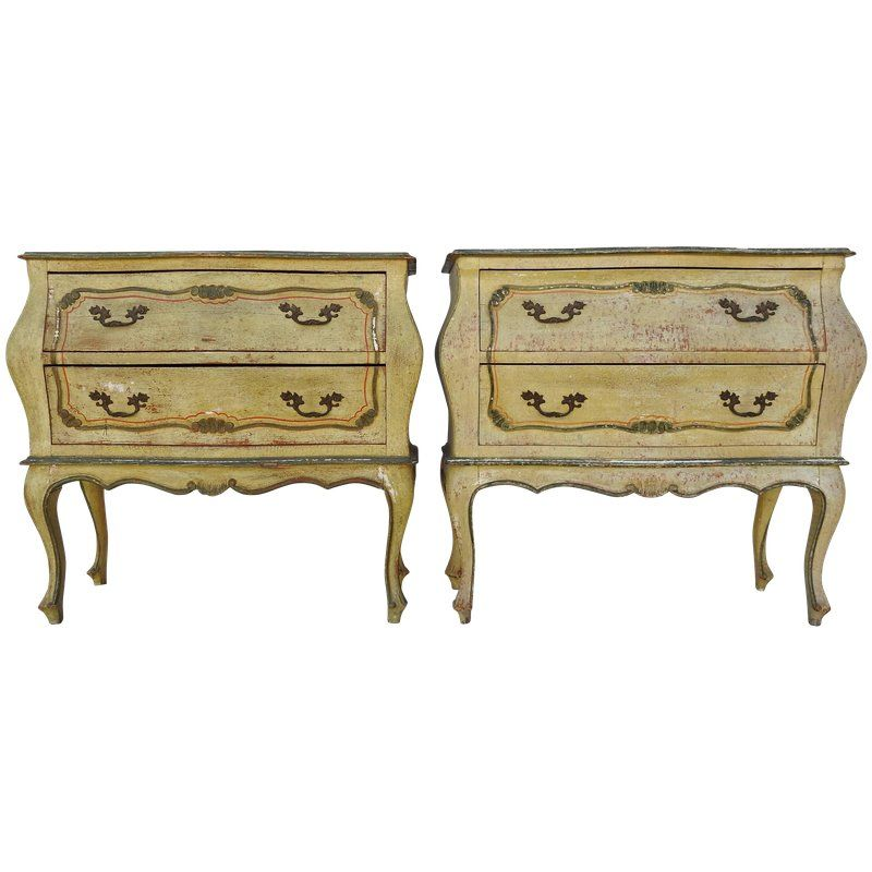 Mid 20th Century Pair Of Italian Hand Painted Bombay Chest