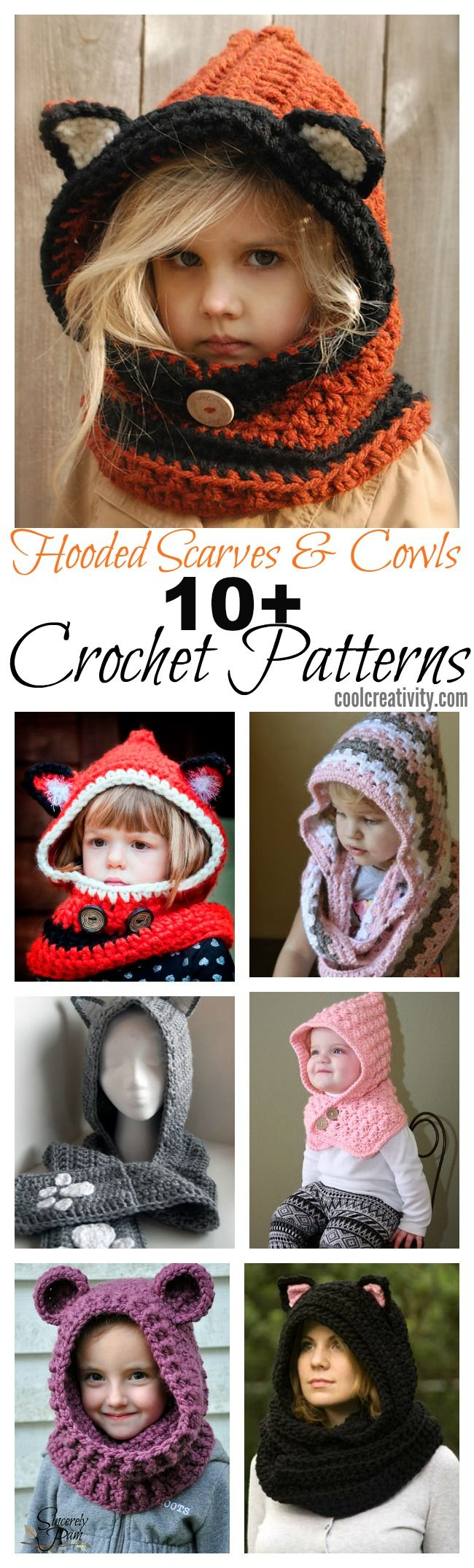 10+ Crochet Hooded Scarves and Cowls Patterns | Kapuzenschals ...