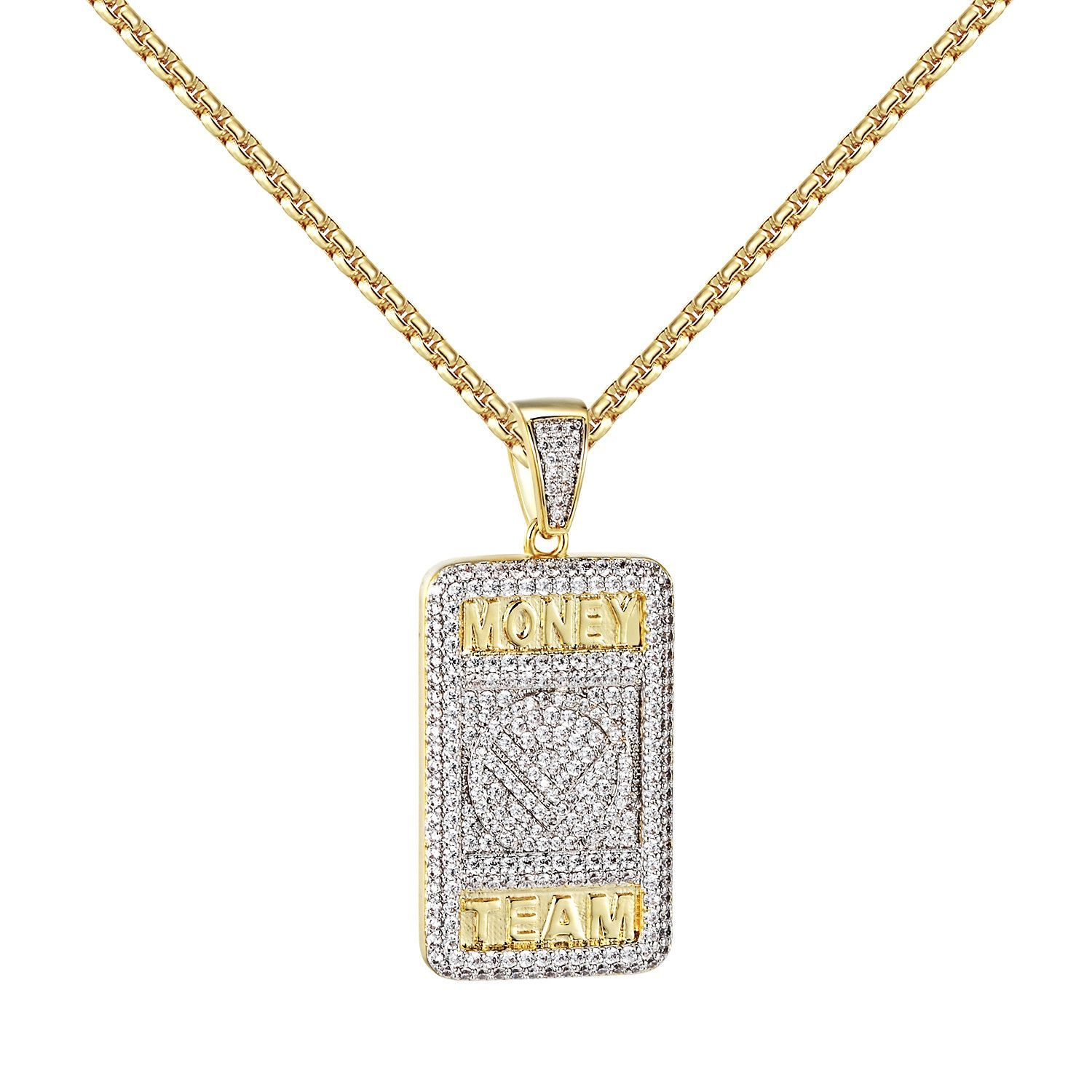 b9ff7488fed4 Money Team Dog Tag Pendant 14k Gold Finish Simulated Diamonds Chain Hip Hop