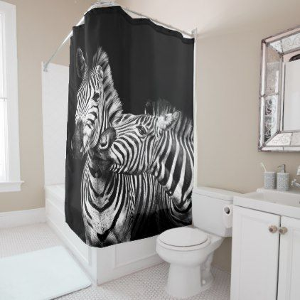 Gives A Kiss Zebras Shower Curtain Zazzle Com White Shower