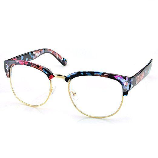 aed55fb97db32 PenSee Half Frame Eyeglasses Frames Eyewear Glasses Clear Lens Dot Rivet  Review