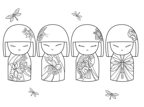 Kimmi Dolls Coloring Page Free Printable Coloring Pages Coloring Pages Kokeshi Dolls Kokeshi