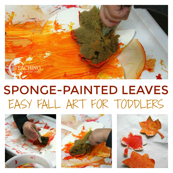 After collecting real leaves, our toddlers have fun using sponges and paint to make their own paper leaves!
