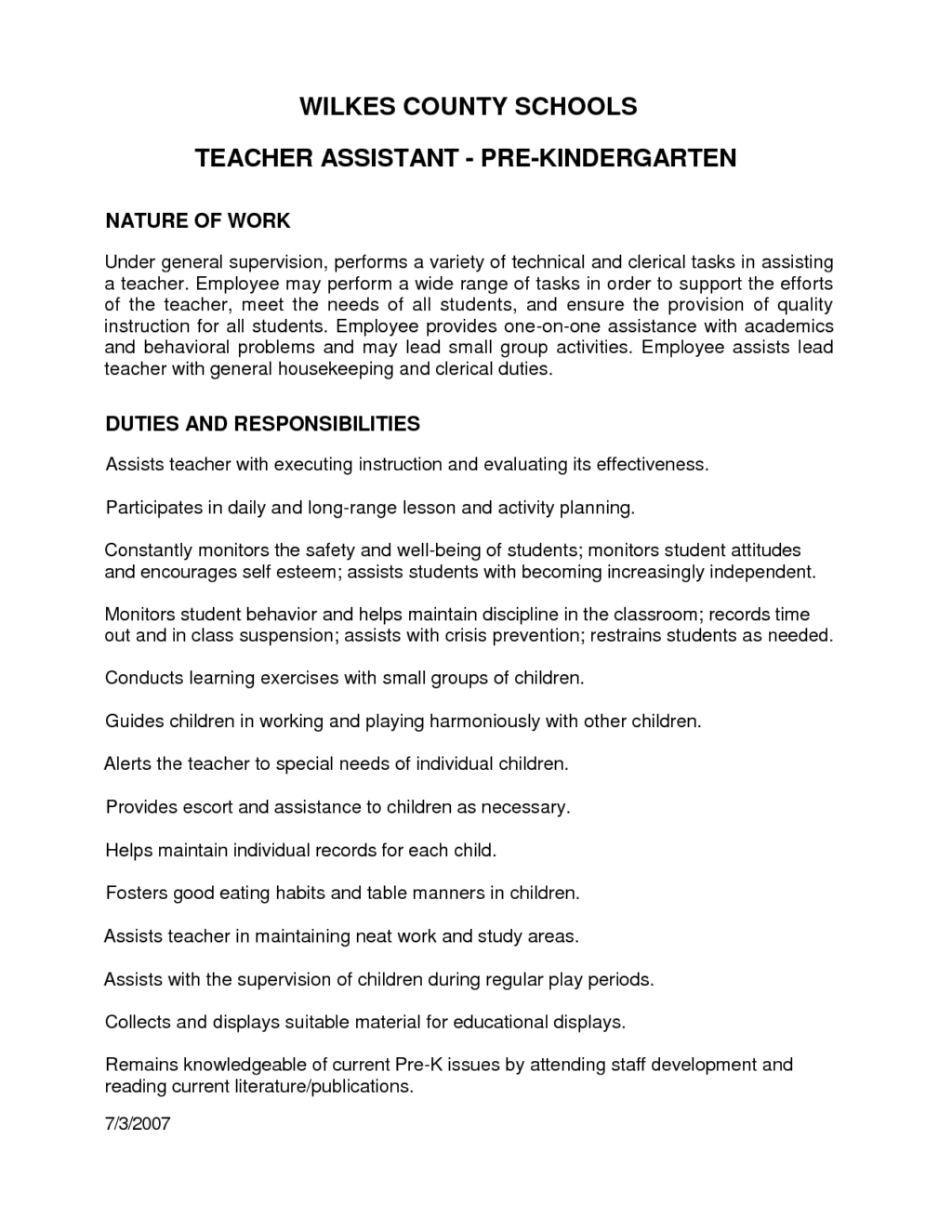 letter recommendation for preschool teacher assistant