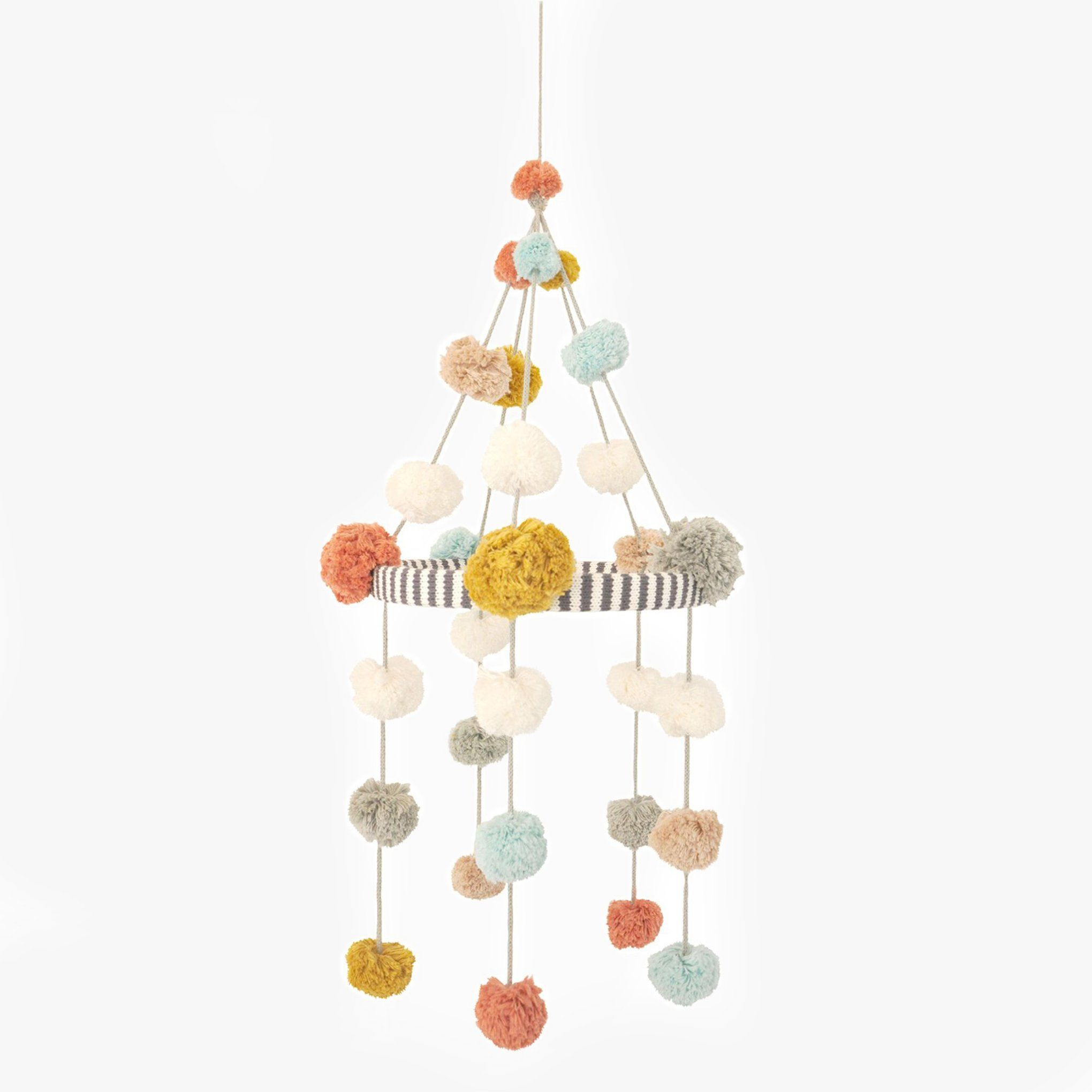 Pom Pom Mobile by Blabla. A sweet and colorful handmade mobile for your little ones. Measures 13