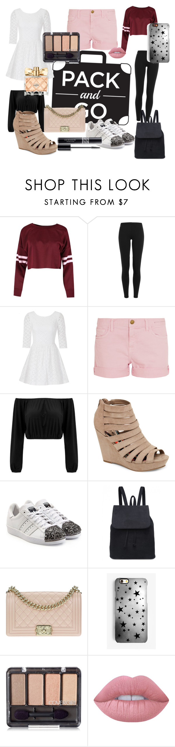 """What to pack for the weekend💼"" by chesneyd ❤ liked on Polyvore featuring Polo Ralph Lauren, Lilly Pulitzer, Current/Elliott, Madden Girl, adidas Originals, Chanel, Rianna Phillips, Christian Dior, Lime Crime and Avon"