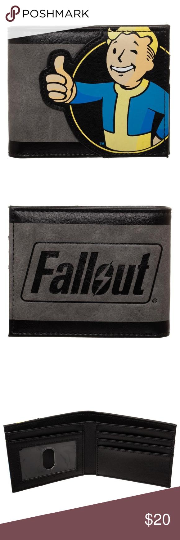 Fallout Men S Bifold Wallet Vault Boy Thumbs Up Bifold Wallet Men Bi Fold Wallet Men