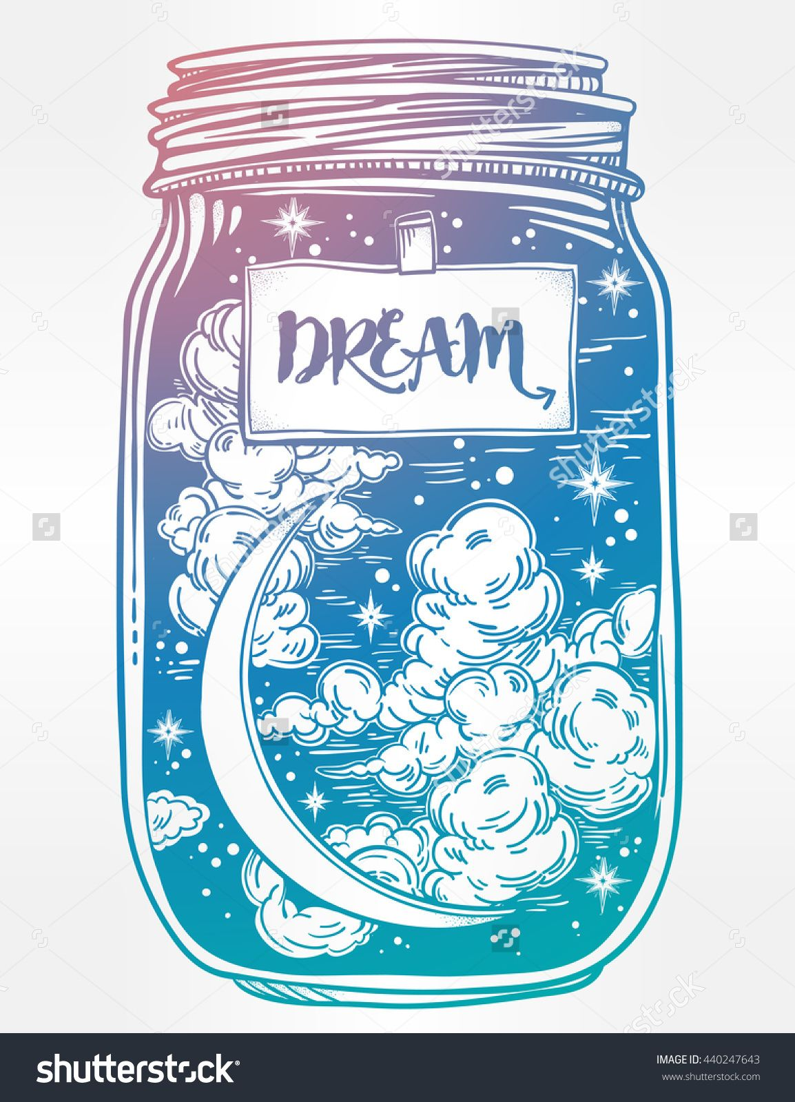 Hand drawn romantic wish jar with night sky moon and stars vector hand drawn romantic wish jar with night sky moon and stars tattoo design magic symbol for your use coloring book page label has a message to dream on it buycottarizona