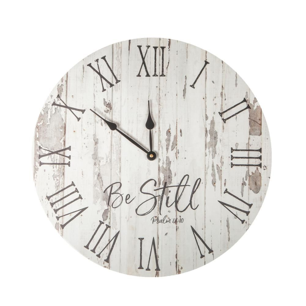 P Graham Dunn Be Still White Washed Pine Wood Clock Clk0026 The Home Depot In 2020 Wood Wall Clock Rustic Wall Clocks Farmhouse Wall Clocks