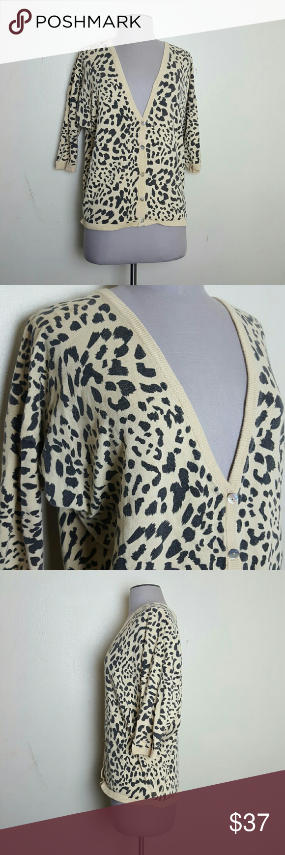 Printed Cardigan Cheetah print v neck cardigan  3/4 sleeves Forever 21 Sweaters Cardigans