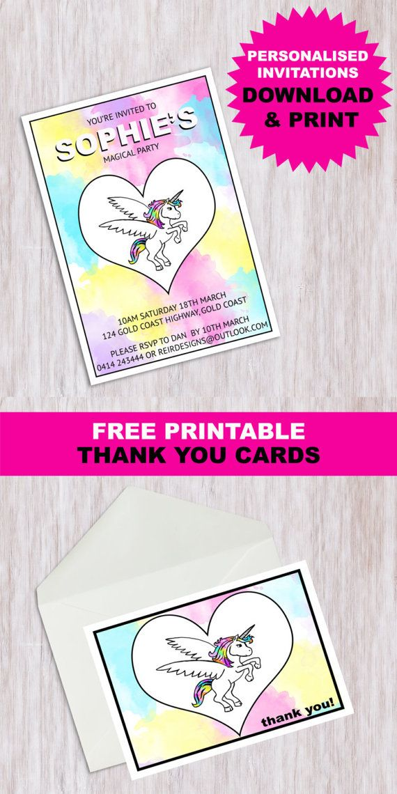 Magical Unicorn Birthday Party Customised Personalised Printable Invitation This Listing Is For A High Resolution And