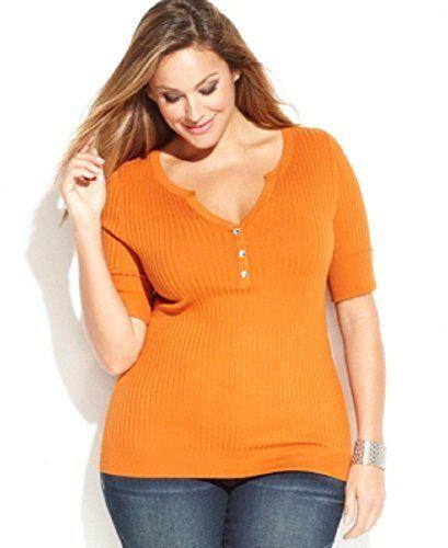 Fashion Plus Size Ribbed Knit Split Neck Sweater www.fashionbug.us #plussize 1X 2X 3X 4X 5X 6X Orange