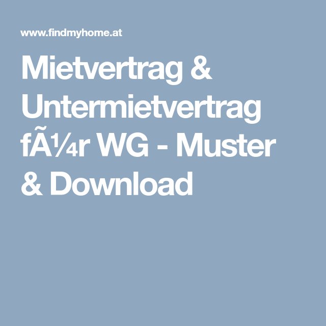 mietvertrag untermietvertrag fr wg muster download - Wohnraummietvertrag Muster