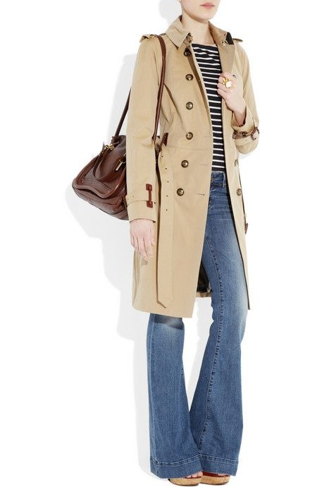 flares, stripes, trench coat