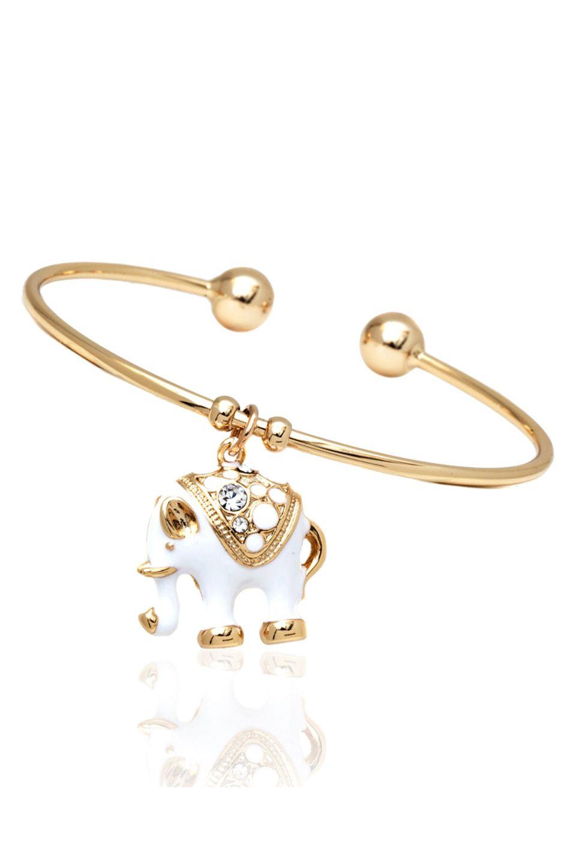 Sevil k gold plated white elephant charm bangle jewelry