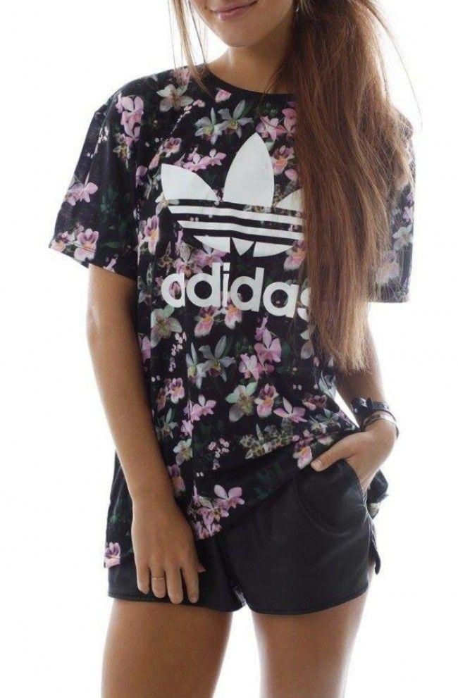 camiseta adidas flores mujer