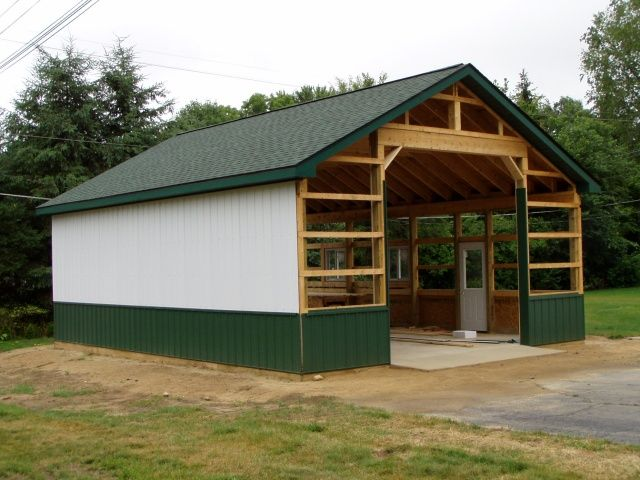 Metal pole barns 24 x 32 steel sided pole barn 10 of 18 for Carport shop combo