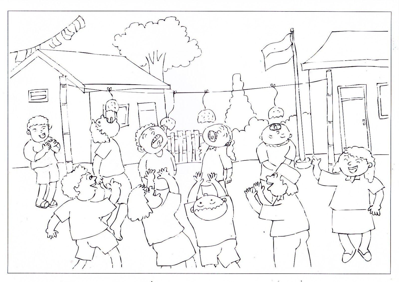Sketch Projects Indonesia Coloring Preschool Frida Mewarnai Gambar Keramaian Pasar