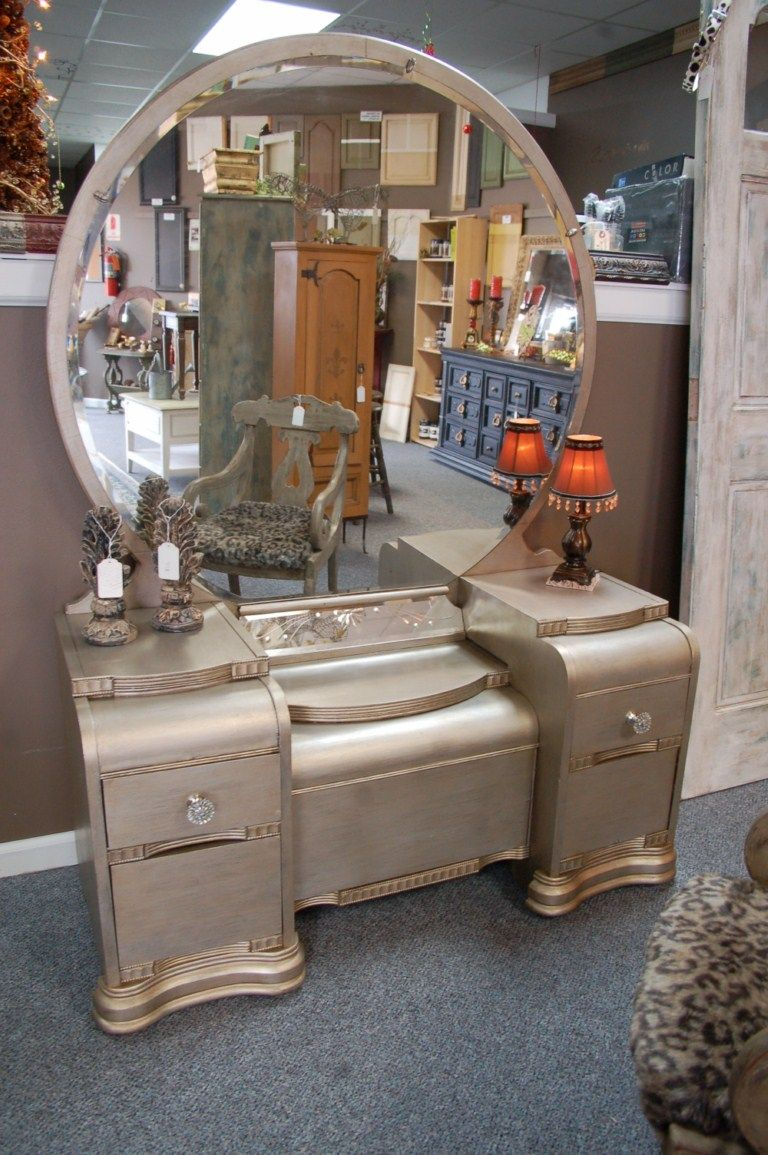 Breathing Life Into An Antique Vanity Silver It Is Antique Vanity Furniture Makeover Waterfall Furniture